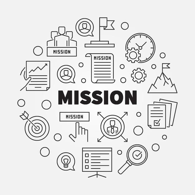 Misi Pojęcia Konturu Ikony Round Ilustracja Premium Wektorów