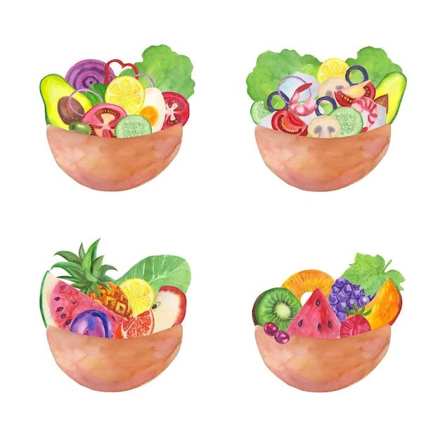Miski Na Owoce I Sałatki W Stylu Przypominającym Akwarele Darmowych Wektorów