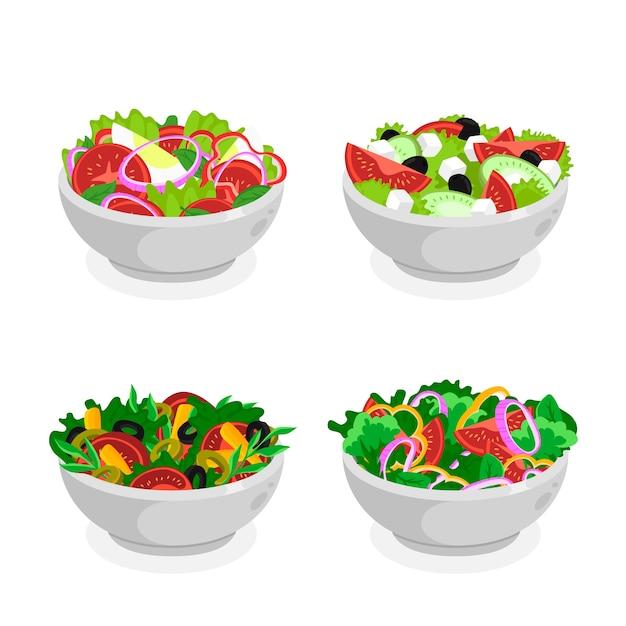 Miski Na Owoce I Sałatki Premium Wektorów
