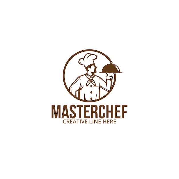 Mistrz kuchni, projekt dla biznesu, firmy, restauracji, jedzenia itp Premium Wektorów