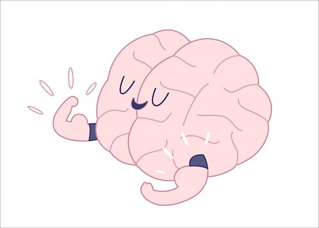 Mistrz mózgu pokazując s biceps płaski zarys ilustracji kreskówki Premium Wektorów
