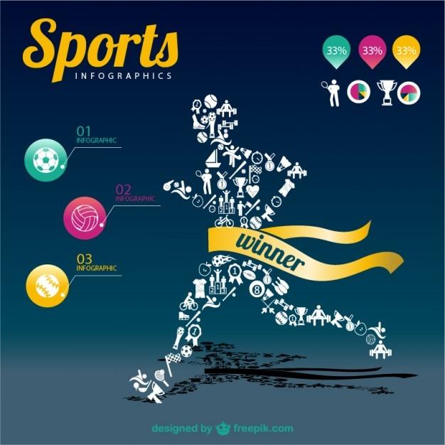 Mistrz Sportów Infografika Szablon Darmowych Wektorów