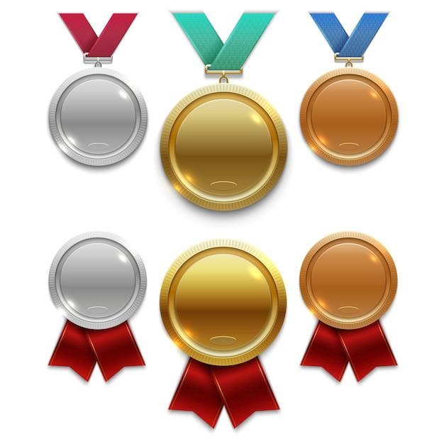 Mistrz złoto, srebro i brązowe medale z czerwonymi i kolorowymi wstążkami izolowanymi Premium Wektorów