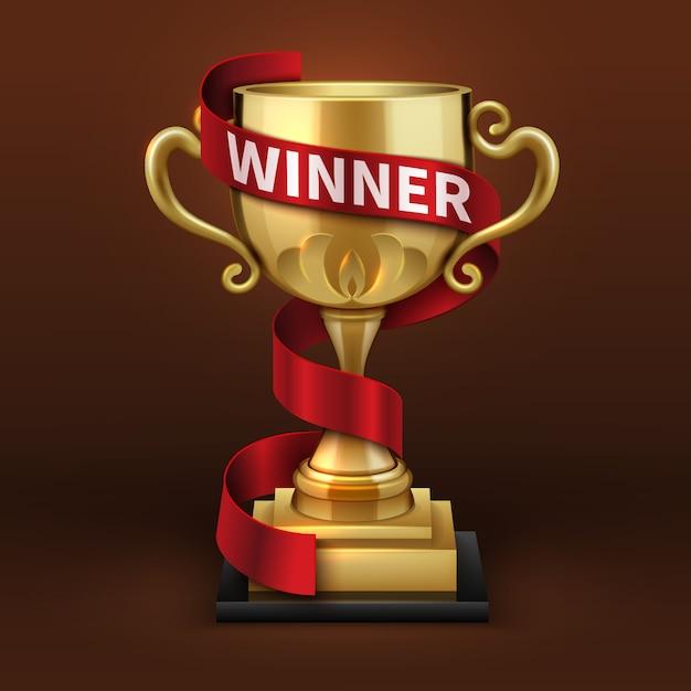 Mistrz złoty puchar trofeum z czerwoną wstążką zwycięzcy. koncepcja wektor mistrzostwa sportowe. złoty puchar i złota czara ze wstążką ilustracja zwycięzca Premium Wektorów