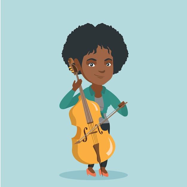 Młoda Afroamerykańska Kobieta Bawić Się Wiolonczelę. Premium Wektorów
