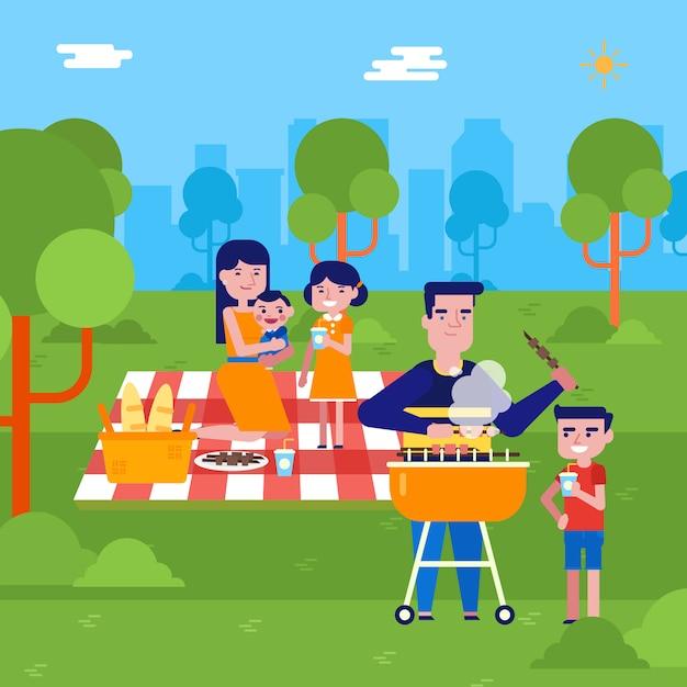 Młoda Caucasian Rodzina Ma Pinkin W Parku Premium Wektorów