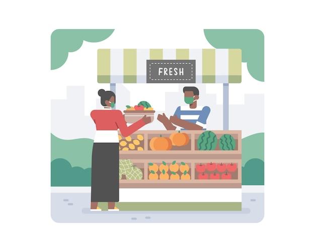 Młoda Czarna Kobieta Kupuje I Kupuje Zdrowe Organiczne Owoce, Aby Wesprzeć Mały Biznes W środku Pandemii Koronawirusa Covid-19 Premium Wektorów