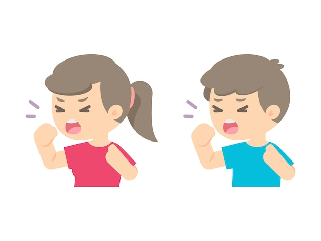 Młoda dziewczyna i chłopiec kasłać, choroby alergii pojęcie, wektorowa płaska ilustracja. Premium Wektorów
