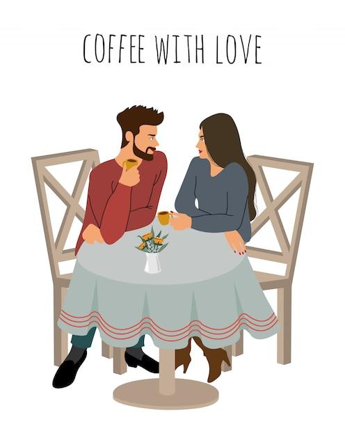 Młoda Dziewczyna I Facet Piją Gorącą Kawę W Kawiarni Premium Wektorów