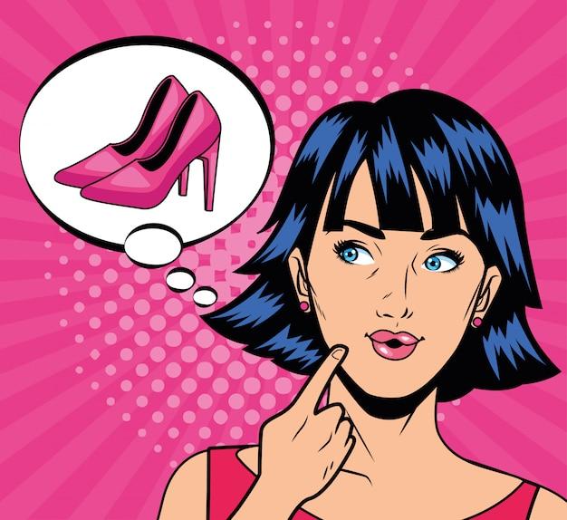 Młoda Dziewczyna Myśli W Buty Pop-art Styl Premium Wektorów