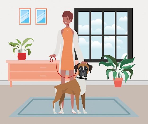 Młoda kobieta afro z ładny pies kryty domu Premium Wektorów
