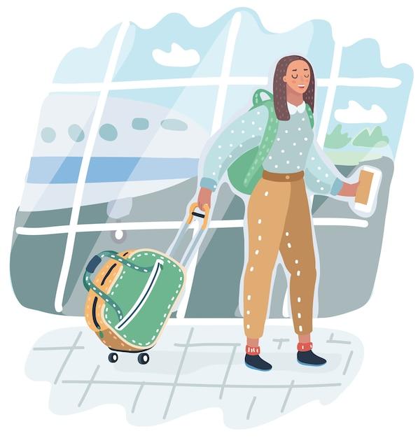 Młoda Kobieta Afroamerykanów Na Lotnisku. Podróżnik Z Bagażem Na Tle Samolotu. Ilustracja Z Wakacji. Przylot Do Terminalu. Dorosły Turysta W Kapeluszu Z Torbą Chodzenia Do Samolotu. Premium Wektorów