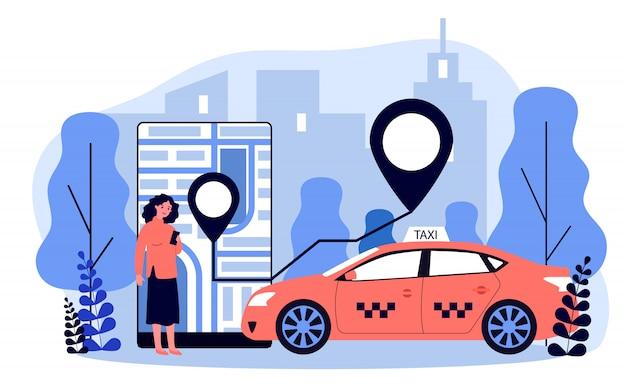Młoda Kobieta Bierze Taksówkę Przez Mobilnej App Ilustraci Premium Wektorów