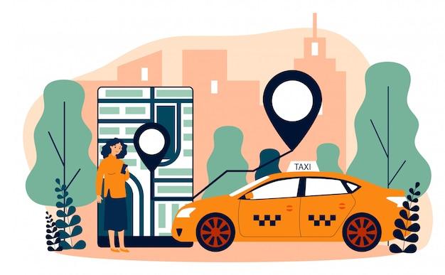 Młoda Kobieta Bierze Taksówkę Przez Mobilnej App Płaskiej Wektorowej Ilustraci Premium Wektorów