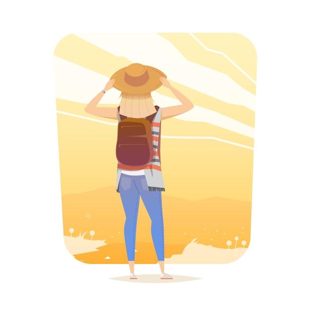 Młoda Kobieta Chodzi Samotnie Na Halnym śladzie. Dziewczyna Patrzy Na Zachód Słońca. Przygodowa Wycieczka. Letni Wypoczynek. Dookoła świata. Styl Kreskówkowy. Ilustracja. Premium Wektorów