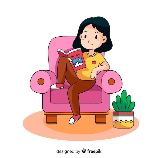 Młoda kobieta czyta książkę Darmowych Wektorów