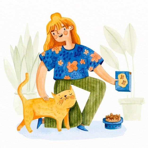 Młoda Kobieta, Dbanie O Uroczy Kot Darmowych Wektorów