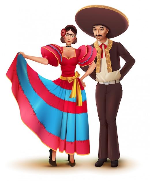Młoda Kobieta I Mężczyzna W Tradycyjnych Meksykańskich Krajowych Ubrań Premium Wektorów
