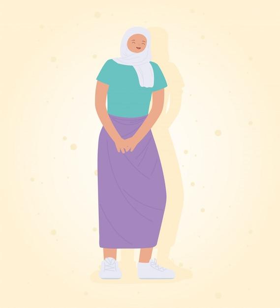 Młoda Kobieta Nosi Hidżab Stojący Projekt Ikony Premium Wektorów
