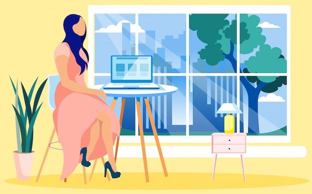 Młoda kobieta prezenter wyświetlono grafiki reklamowe Premium Wektorów