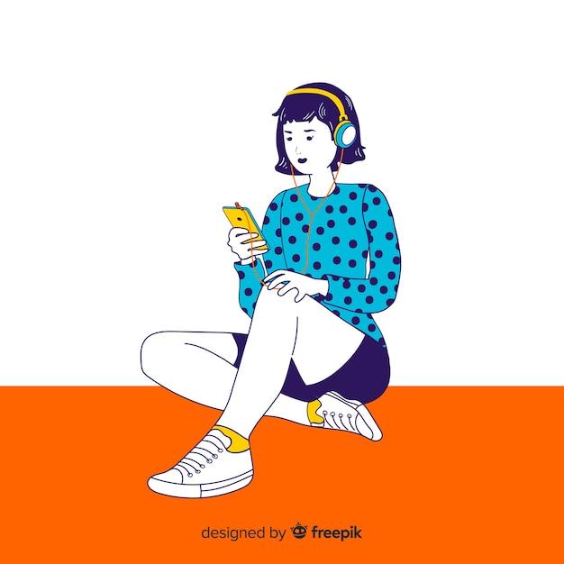 Młoda kobieta słucha muzyki w koreańskim rysunku stylu Darmowych Wektorów
