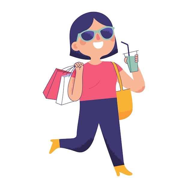 Młoda kobieta szła radośnie, niosąc torbę na zakupy i trzymając zimny napój Premium Wektorów