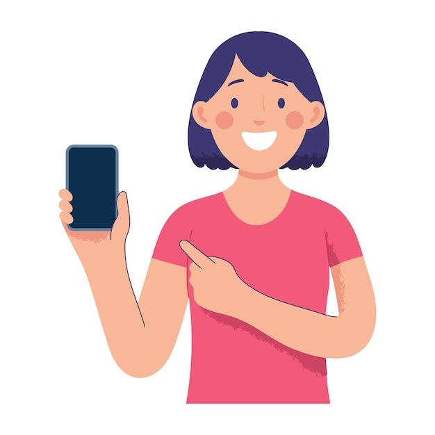 Młoda kobieta trzyma smartfon i wskazuje go innym palcem Premium Wektorów