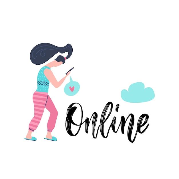 Młoda kobieta trzyma smartphone i czyta e-mail z ręką pisze list online. uzależnienie od mediów społecznościowych. Premium Wektorów
