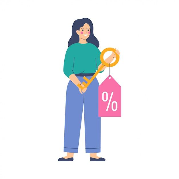 Młoda Kobieta Trzyma Złoty Klucz Z Tagiem Oferty Rabatowej Ze Znakiem Procentu Premium Wektorów