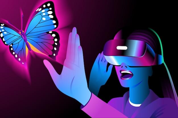 Młoda Kobieta W Zestawie Słuchawkowym Vr Rozgląda Się I Dotyka Wirtualnego Motyla. Hełm Rzeczywistości Wirtualnej Na Czarnym Tle Premium Wektorów
