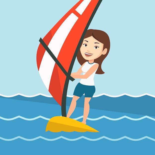 Młoda Kobieta Windsurfing Na Morzu. Premium Wektorów