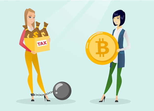 Młoda Kobieta Wybierająca Płatność Wolną Od Podatku Przez Bitcoiny. Premium Wektorów