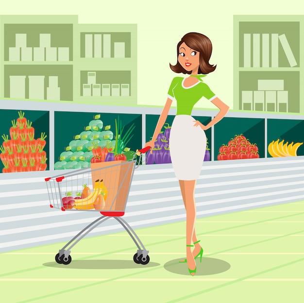 Młoda kobieta z koszykiem pełnym owoców i warzyw w supermarkecie. Premium Wektorów