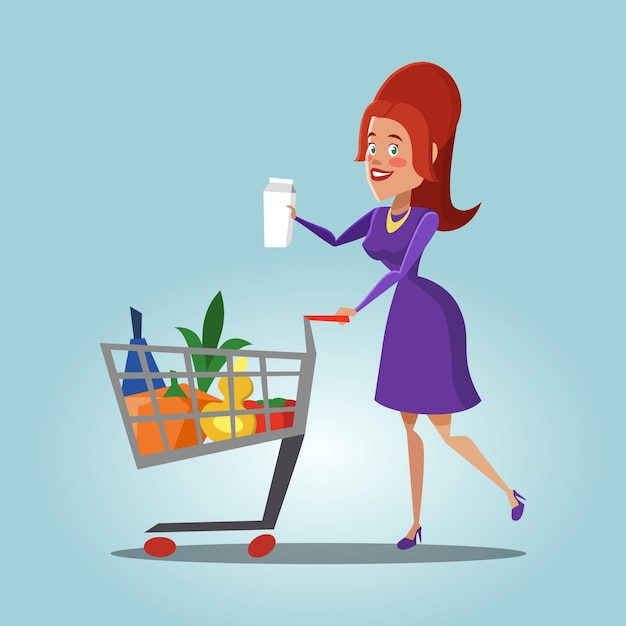 Młoda Kobieta Z Koszykiem Pełnym świeżych Produktów. Zdrowe Jedzenie. Premium Wektorów