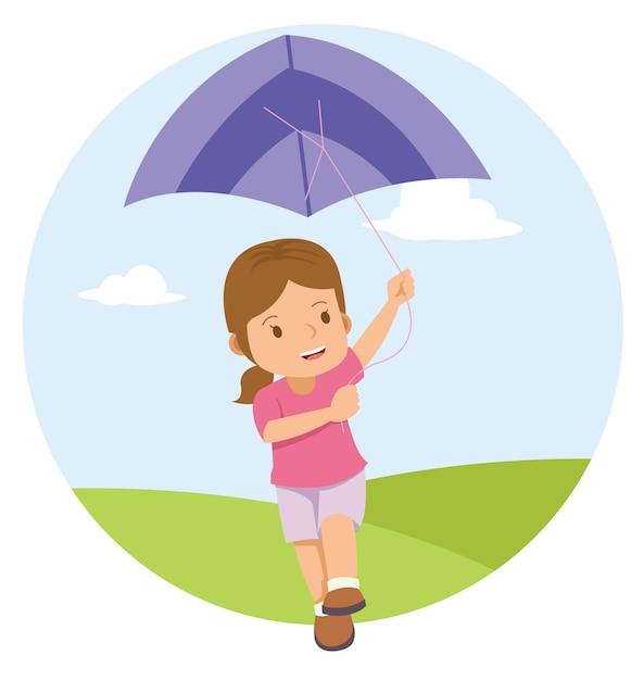 Młoda mała dziewczynka bawić się kanię w polu Premium Wektorów