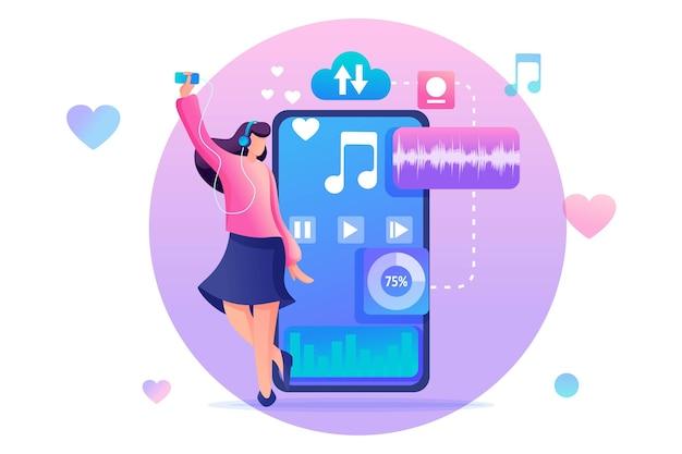 Młoda Nastolatka Słucha Ulubionej Muzyki W Telefonie Za Pośrednictwem Aplikacji Mobilnej. Premium Wektorów