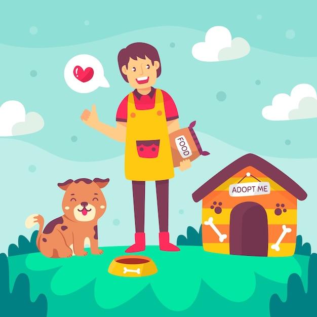 Młoda Osoba Jest Szczęśliwa Adoptując Psa Darmowych Wektorów