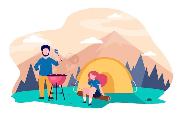 Młoda Para Camping W Górach Darmowych Wektorów