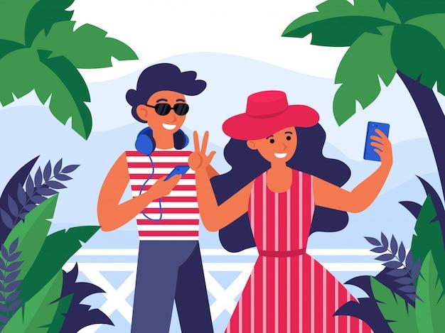 Młoda Para Mężczyzna I Kobieta Pozowanie Na Kamery Mobilnej Darmowych Wektorów
