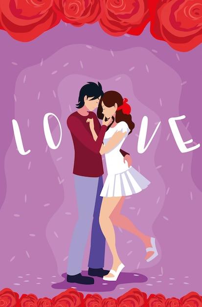 Młoda para w miłości plakat z różami dekoracji Premium Wektorów