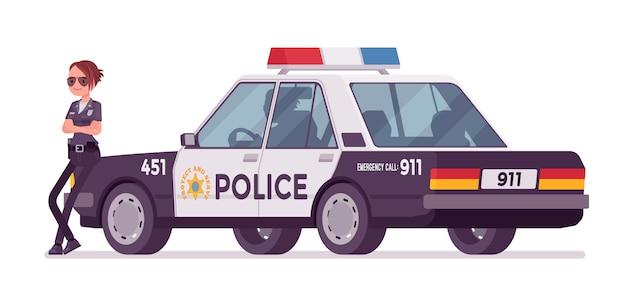 Młoda Policjantka Stoi Blisko Samochodu Premium Wektorów