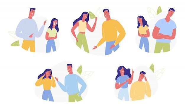 Młoda rodzina kłóci się i przeklina ludzkie relacje Premium Wektorów