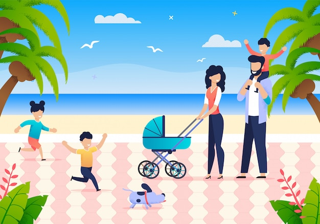 Młoda Rodzina Z Dziećmi Ciesz Się Wakacjami Premium Wektorów