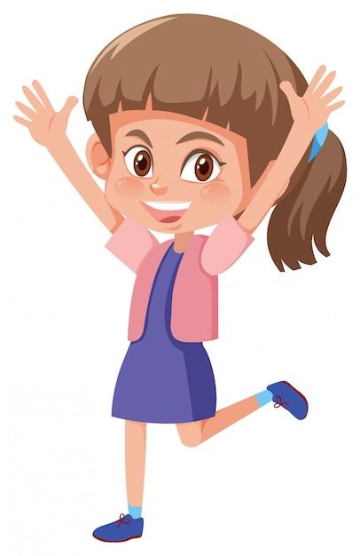 Młoda Szczęśliwa Brunetki Dziewczyna Premium Wektorów
