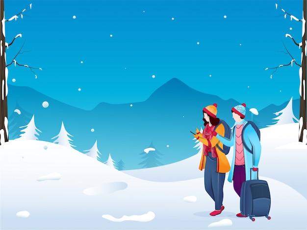 Młoda Turystyczna Chłopiec I Dziewczynka Postać Używa Telefon Z Bagaż Torbą Na Zima Krajobrazie. Premium Wektorów