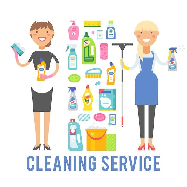 Młoda uśmiechnięta kobieta czystsze usługi izolowanych na białym tle. Premium Wektorów
