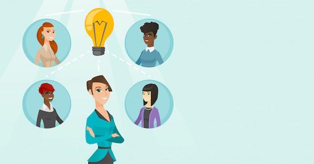 Młode Biznesowe Kobiety Dyskutuje Kreatywnie Pomysły. Premium Wektorów