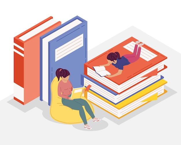 Młode Czytelniczki Czytające Książki, Projekt Ilustracji Obchodów Dnia Książki Premium Wektorów