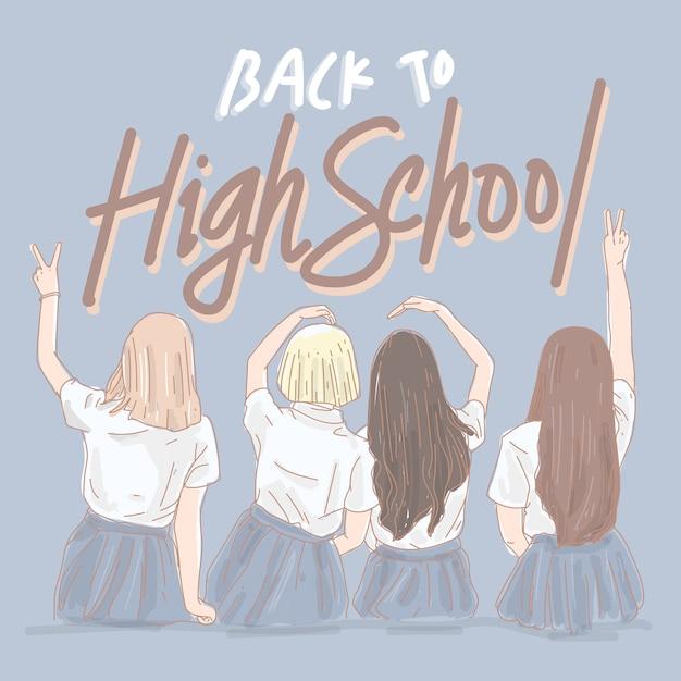 Młode Dziewczyny Wracają Do Liceum Premium Wektorów