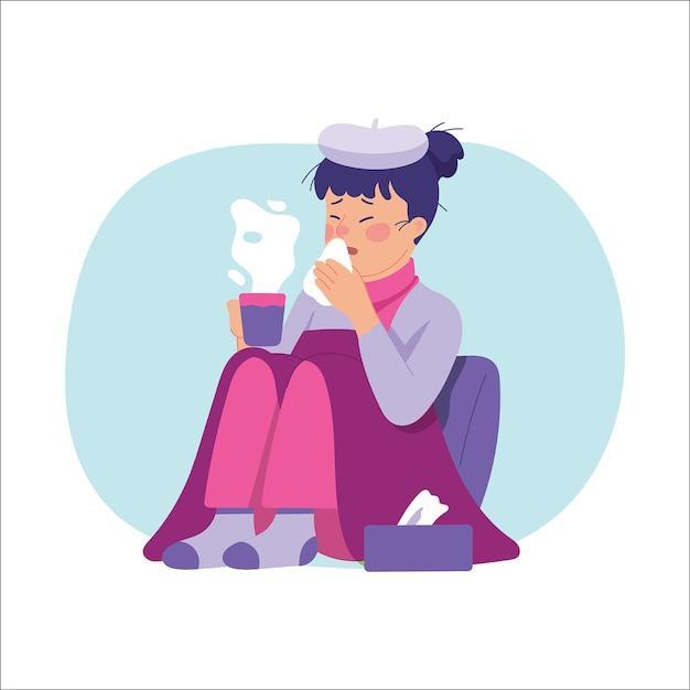 Młode kobiety cierpią na gorączkę i ciężką grypę Premium Wektorów